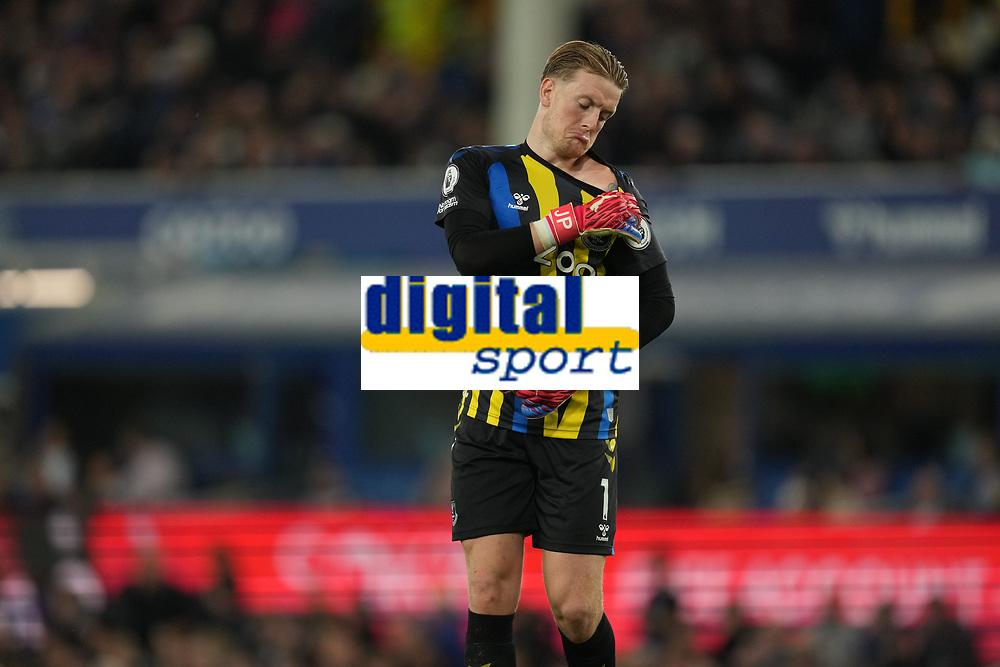 Football - 2021 / 2021 Premier League - Everton vs Burnley - Goodison Park - Monday 13th September 2021<br /> <br /> <br /> <br /> Everton's Jordan Pickford checks his shoulder injury<br /> <br /> <br /> Credit COLORSPORT/Terry Donnelly