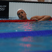 Federica Pellegrini, Italy, in action during the Men's 200m Freestyle heats during the swimming heats at the Aquatic Centre at Olympic Park, Stratford during the London 2012 Olympic games. London, UK. 29th July 2012. Photo Tim Clayton