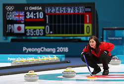 Great Britain's skipper Eve Muirhead during the Women's Bronze Medal match at the Gangneung Curling Centre during day fifteen of the PyeongChang 2018 Winter Olympic Games in South Korea.