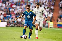 "Real Madrid's player Alvaro Morata and Celta de Vigo's player Jonathan Castro ""Jonny"" during a match of La Liga Santander at Santiago Bernabeu Stadium in Madrid. August 27, Spain. 2016. (ALTERPHOTOS/BorjaB.Hojas)"