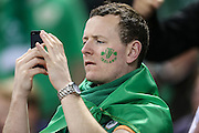 Irish rugby supporter during the Rugby World Cup Quarter Final match between Ireland and Argentina at Millennium Stadium, Cardiff, Wales on 18 October 2015. Photo by Shane Healey.