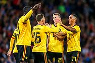 Thorgan Hazard (#16) of Belgium celebrates Beligum's first goal (0-1) with Youri Tielemans (#17) of Belgium during the International Friendly match between Scotland and Belgium at Hampden Park, Glasgow, United Kingdom on 7 September 2018.