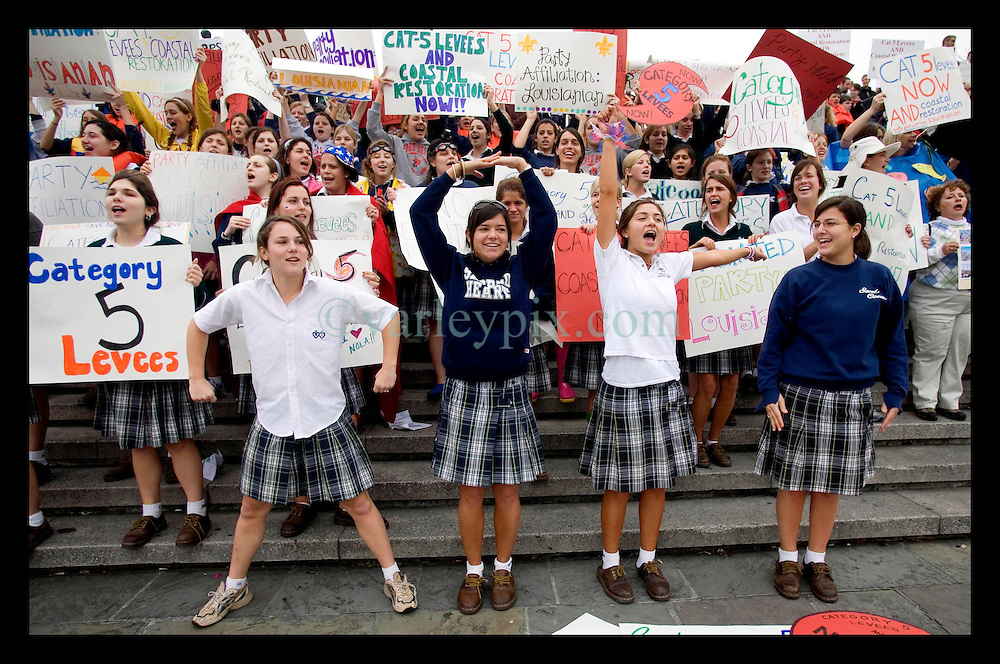 12th Jan2206. Schoolgirls from the academy of the Sacred Heart protest the lack of effective levees in New Orleans as President George Bush comes to town.
