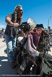 Scrapey Hawkins at the Boardwalk Bike Show during Daytona Bike Week. FL, USA. March 14, 2014.  Photography ©2014 Michael Lichter.