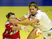 03.12.2008 Ohrid (FYR Macedonia)<br />Norway-Spain European women's handball championship<br />Breivang Karoline(L) Norway and Koleva Zornitza(R) Spain <br />Foto:Aleksandar Djorovic