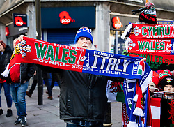 A scarf seller outside of the stadium<br /> <br /> Photographer Simon King/Replay Images<br /> <br /> Six Nations Round 1 - Wales v Italy - Saturday 1st February 2020 - Principality Stadium - Cardiff<br /> <br /> World Copyright © Replay Images . All rights reserved. info@replayimages.co.uk - http://replayimages.co.uk