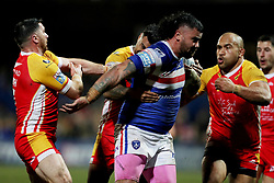 Wakefield Trinity's David Fifita powers through to score during the Betfred Super League match at Belle Vue, Wakefield.