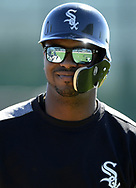 GLENDALE, ARIZONA - FEBRUARY 19: Eloy Jimenez #74 of the Chicago White Sox looks on during spring training workouts on February 19, 2019 at Camelback Ranch in Glendale Arizona.  (Photo by Ron Vesely). Subject:   Eloy Jimenez