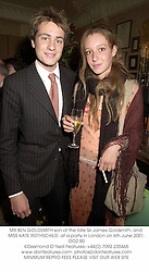 MR BEN GOLDSMITH son of the late Sir James Goldsmith, and MISS KATE ROTHSCHILD, at a party in London on 6th June 2001.	OOZ 80
