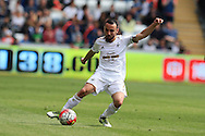 Leon Britton of Swansea city in action. .Barclays Premier league match, Swansea city v Manchester city at the Liberty Stadium in Swansea, South Wales on Sunday 15th May 2016.<br /> pic by Andrew Orchard, Andrew Orchard sports photography.