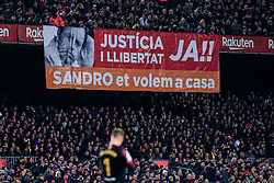 February 6, 2019 - Barcelona, BARCELONA, Spain - Fans protesting in favour of ex FC Barcelona president Sandro Rosell during the semi-final first leg of Spanish King Cup / Copa del Rey football match between FC Barcelona and Real Madrid on 04 of February of 2019 at Camp Nou stadium in Barcelona, Spain (Credit Image: © AFP7 via ZUMA Wire)