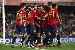 March 23, 2019 - Valencia, Valencia, Spain - Sergio Ramos of Spain celebrates the goal of his team during the 2020 UEFA European Championships group F qualifying match between Spain and Norway at Estadi de Mestalla on March 23, 2019 in Valencia, Spain. (Credit Image: © Jose Breton/NurPhoto via ZUMA Press)