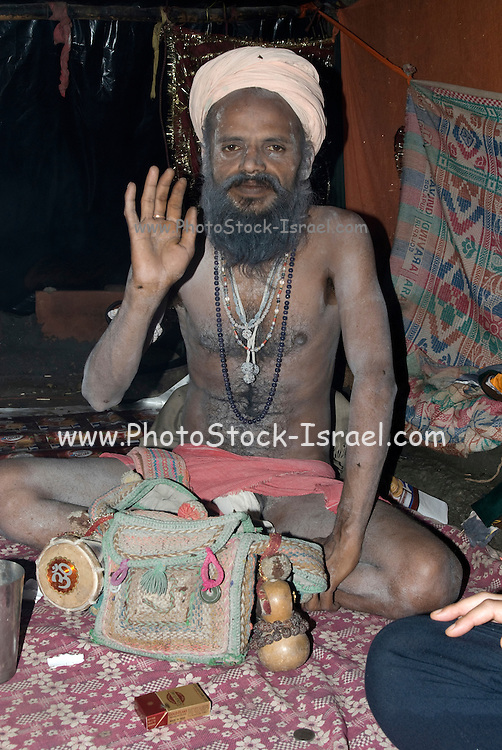 India, Uttarakhand, Haridwar A Sadhu an ascetic or practitioner of yoga (yogi) who has given up pursuit of the first three Hindu goals of life: kama (enjoyment), artha (practical objectives) and even dharma (duty).