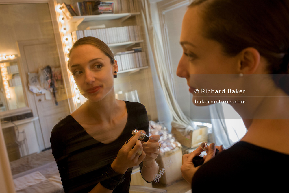 Ballerina, Dorothée Gilbert readies for her class in her dressing room at the Palais Garnier, Paris. <br /> <br /> From the chapter entitled 'Etoile' and from the book 'Risk Wise: Nine Everyday Adventures' by Polly Morland (Allianz, The School of Life, Profile Books, 2015). <br /> <br /> FOR REPRODUCTION OTHER THAN RELATED TO THE BOOK 'RISK WISE', PERMISSION FROM DOROTHEE GILBERT IS REQUIRED.