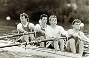 Henley on Thames, England, 1990 Henley Royal Regatta, River Thames, Henley Reach,  [© Peter Spurrier/Intersport Images], Stewards Challenge Cup. M4- Bow Martin CROSS, Pete MULKERRINS, Matt PINSENT,  Tim FOSTER,