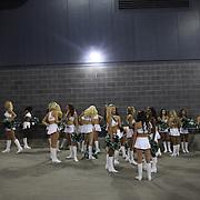 Jets cheerleaders before the New York Jets V Philadelphia Eagles Pre Season NFL match at MetLife Stadium, East Rutherford, NJ, USA. 29th August 2013. Photo Tim Clayton