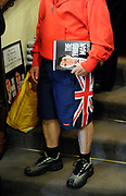 """A fan queues to get his copy of 'the Third Man'  signed by Labour Party politician Lord Mandelson in a book shop in central London, July 15, 2010. The autobiography of Mandelson has come under fierce criticism from within the Labour Party with former Labour leader Neil Kinnock accusing Lord Mandelson of becoming a """"caricature of himself""""  over the book."""