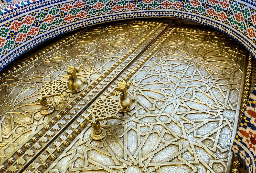 FEZ, MOROCCO - CIRCA APRIL 2017:  Entrance door of the Royal Palace in Fez