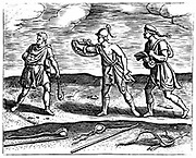 Roman soldiers: Stone slingers and their equipment. Three men all carrying short hand slings, while on ground are sling sticks which gave missiles greater impetus. From Justus Lipsius 'Poliorceticon ...',  Antwerp, 1605. Copperplate engraving .