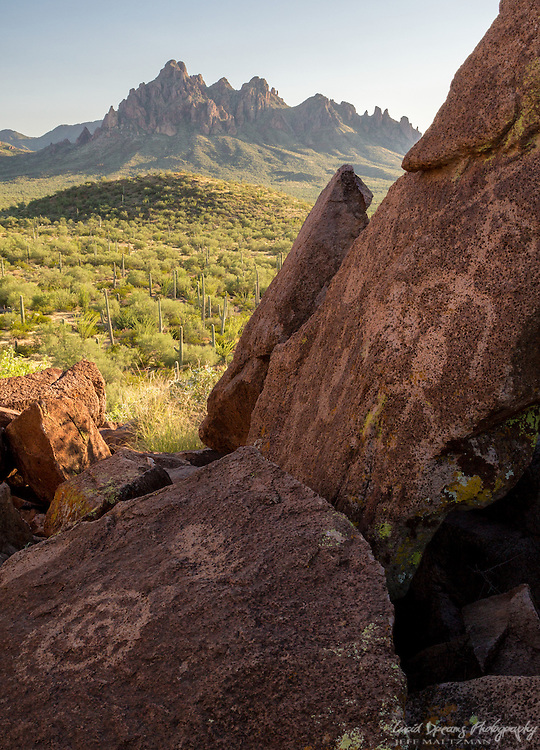 Petroglyphs in Ironwood Forest National Monument, with Ragged Top Peak in the distance. Afternoon light.