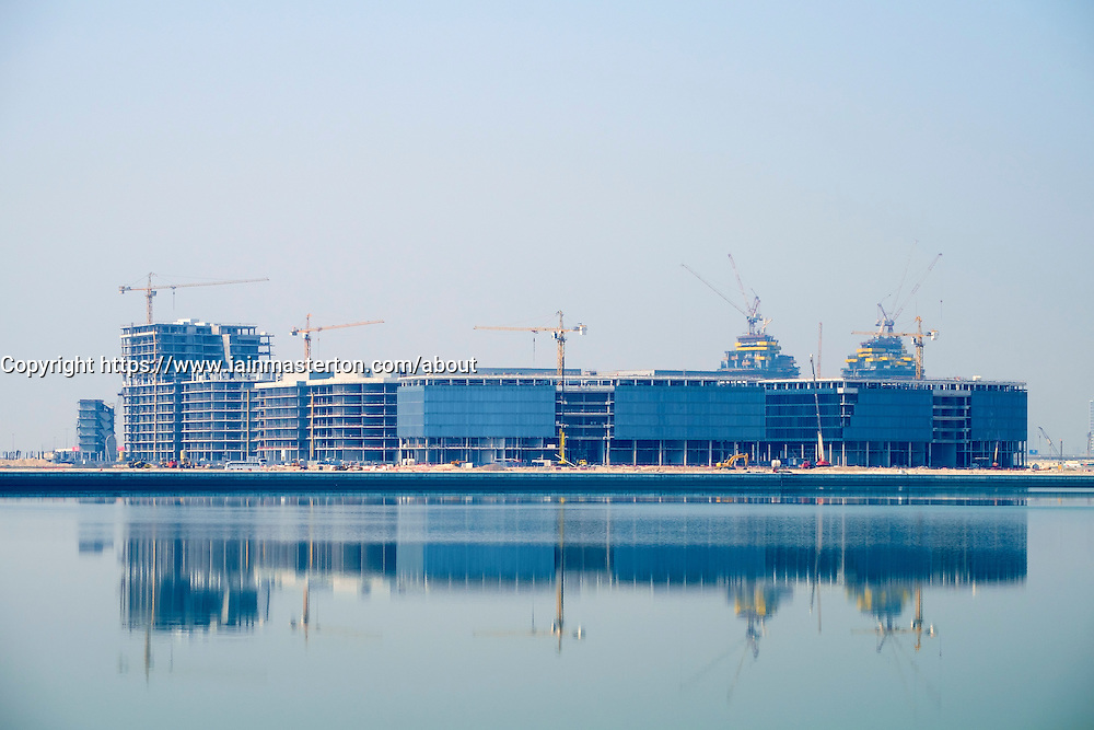View across The Creek towards new Dubai Design District (d3) under construction at Business Bay in United Arab Emirates