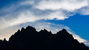 The Palisades silhouetted against the evening sky, John Muir Wilderness, California USA