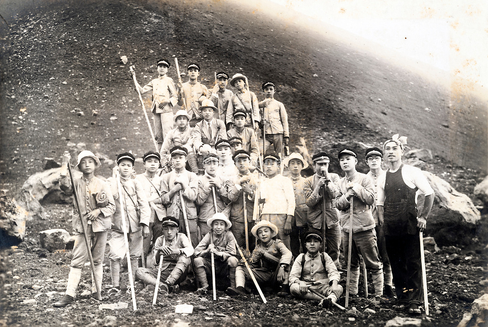 student mountaineering group portrait Japan ca 1930s