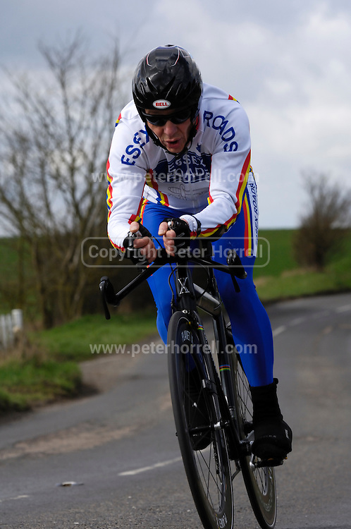 United Kingdom, Finchingfield, Mar 27, 2010:   Matt Hay, Essex Roads CC, approaches the 4 miles to go marker during the 2010 edition of the 'Jim Perrin' Memorial Hardriders 25.5 mile Sporting TT promoted by Chelmer Cycling Club. Copyright 2010 Peter Horrell.