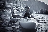 Kayak instructor ans student. Salmon River, Idaho.