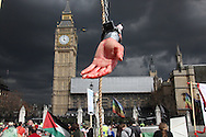 """Severed """"hand"""" of an MP - MayDay protests outside of Houses of Parliament London, UK, 1/5/10"""