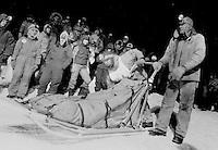 UP 200 Sled Dog Race, Midnight Run, 1992, Chatham checkpoint, Michigan
