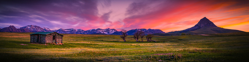 Gorgeous colorful sunset out of Augusta Montana along the Rocky Mountain Front