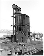 D&RGW Durango coaling tower as seen from the northwest. Wheel sets are stored on a track to the west of the tower.<br /> D&RGW  Durango, CO