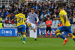 November 26, 2017 - San Sebastian, Gipuzkoa - Basque Country, Spain - Zurutuza of Real Sociedad duels for the ball with Jonathan Viera of U D Las Palmas during the Spanish league football match between Real Sociedad and U D Las Palmas at the Anoeta Stadium on 26 November 2017 in San Sebastian, Spain  (Credit Image: © Jose Ignacio Unanue/NurPhoto via ZUMA Press)