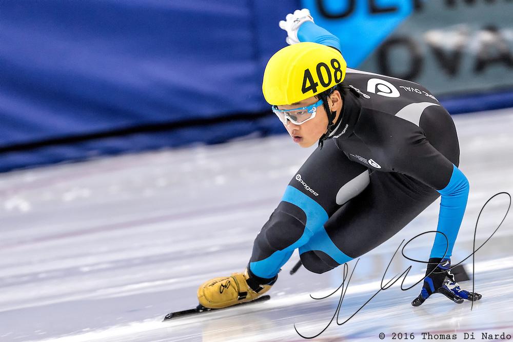 December 17, 2016 - Kearns, UT - Andrew Heo skates during US Speedskating Short Track Junior Nationals and Winter Challenge Short Track Speed Skating competition at the Utah Olympic Oval.