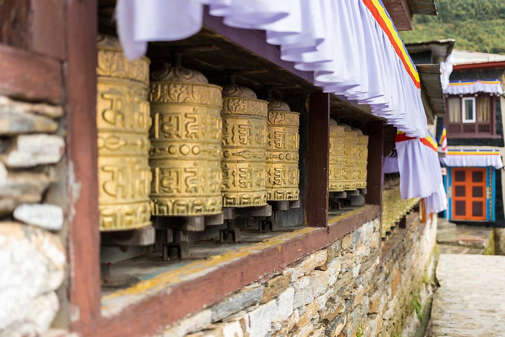 Prayer Wheels at the Monastery in Namche Bazaar, Nepal