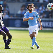 NEW YORK, NEW YORK - May 29:  Andrea Pirlo #21 of New York City FC in action during the New York City FC Vs Orlando City, MSL regular season football match at Yankee Stadium, The Bronx, May 29, 2016 in New York City. (Photo by Tim Clayton/Corbis via Getty Images)