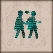 Digitally enhanced image of a sketch of two female figures walking hand in hand with a heart symbol of love between them.  Photograph of Pedestrian lights at a zebra crossings in Vienna Austria