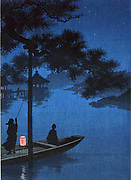 Shibu Pine: Konen Uehera (1878-1940) Japanese artist. Nightime scene with blue of starlit sky blending into river. In foreground, two  figures in small boat with brazier glowing red  static under  branch of pine. Water Peace Tranquility