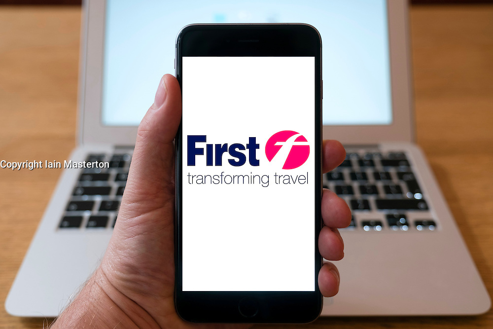 First transport company logo on  website on smart phone screen.