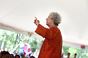 Phyllis Tickle speaks at the Wild Goose Festival at Shakori Hills in North Carolina June 24, 2011.  (Photo by Courtney Perry)