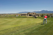 Golfer at 18th hole, Taos Country Club