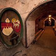 VARNA, ITALY - OCTOBER 13: An ancient wooden barrel painted with the insigna of one of the Abbots in the medieval cellar at  Abbazia di Novacella on October 13, 2010 in Varna, Italy. Abbazia di Novacella, in Alto Adige established in the year 1142 by Augustinian monks, is one of the oldest vineries in the world; it has a production of about 400,000 bottles of world class wines including Kerner, Sylvaner, Pinot Grigio, Gewurtztraminer.