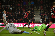 AFC Bournemouth Forward, Josh King (17) scores a goal to make it 2-0 during the Premier League match between Bournemouth and West Ham United at the Vitality Stadium, Bournemouth, England on 19 January 2019.
