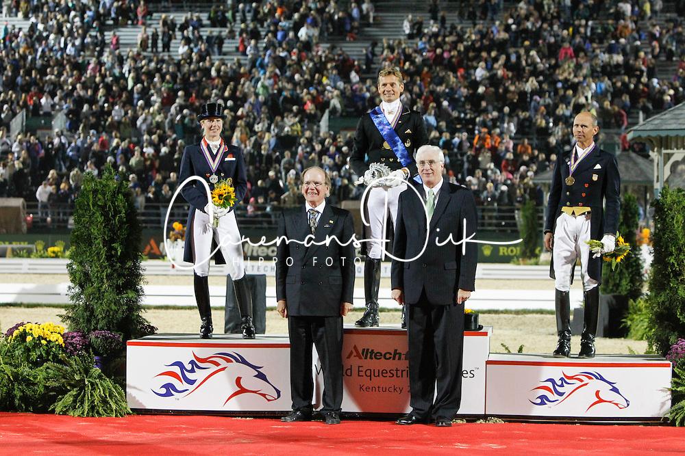 Podium Kur<br /> 1. Gal Edward<br /> 2. Bechtolsheimer Laura<br /> 3. Peters Steffen<br /> Alltech FEI World Equestrian Games <br /> Lexington - Kentucky 2010<br /> © Dirk Caremans