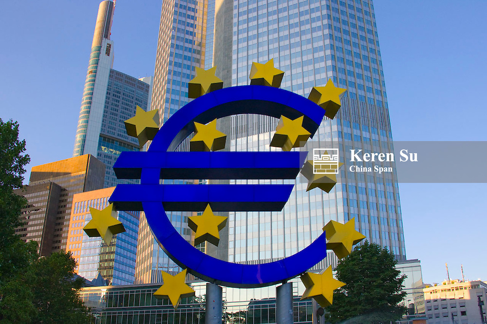 Euro sign with stars in front of European Central Bank, Frankfurt, Germany