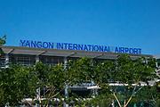 Yangon, Myanmar (Burma) International airport, with sign