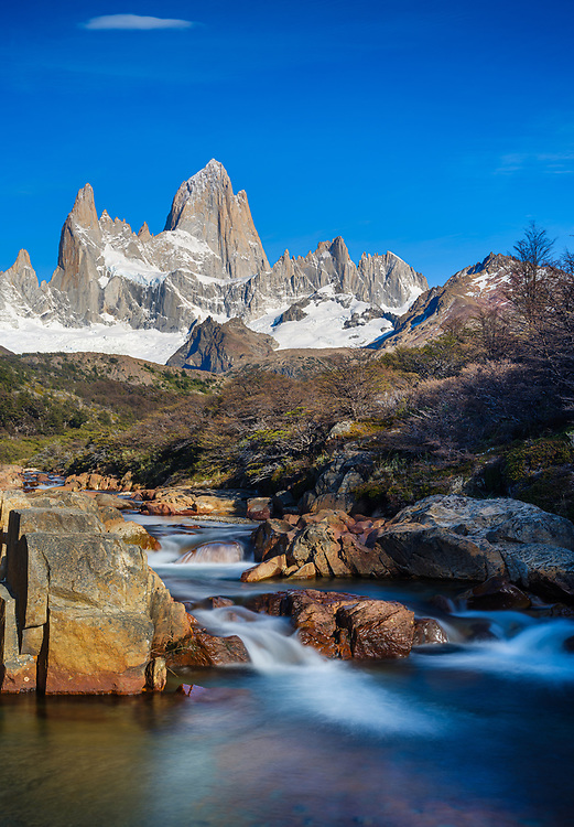 NATIONAL PARK LOS GLACIARES, ARGENTINA - CIRCA FEBRUARY 2019: Waterfall and Mount Fitz Roy in National Park los Glaciares in Argentina.