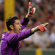 Goalkeeper Brad Jones, Liverpool, in action during the Liverpool Vs AS Roma friendly pre season football match at Fenway Park, Boston. USA. 23rd July 2014. Photo Tim Clayton
