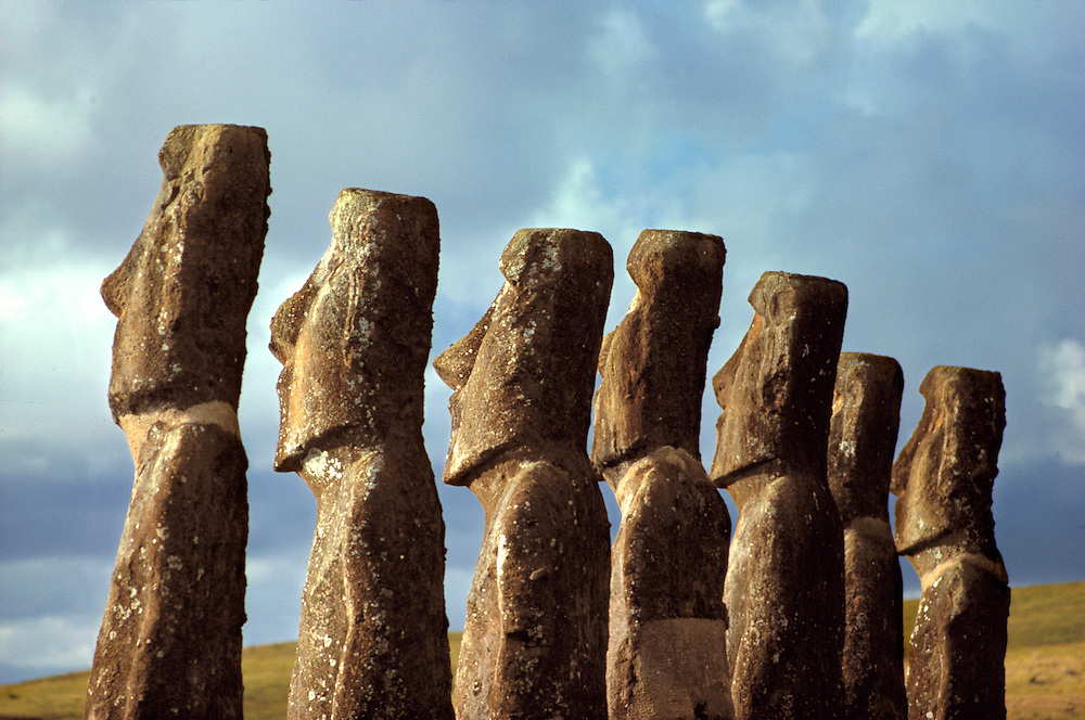 The mysterious moai at Ahu Akivi on Easter Island, a World Heritage Site, face the setting sun.